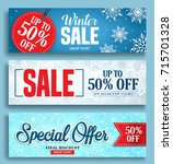 winter sale vector banner set... | Shutterstock .eps vector #715701328