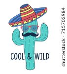 cool   wild slogan and cactus... | Shutterstock .eps vector #715702984
