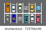 city parking lot with different ... | Shutterstock .eps vector #715706140