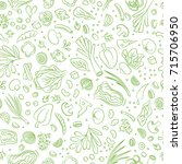 veggie seamless pattern with... | Shutterstock . vector #715706950