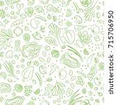 veggie seamless pattern with... | Shutterstock . vector #715706950