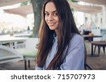 girl in white shirt and red... | Shutterstock . vector #715707973
