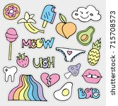 colorful vector patch set   80s ... | Shutterstock .eps vector #715708573