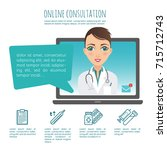 online healthcare diagnosis and ... | Shutterstock .eps vector #715712743