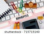 benefits concept. folder... | Shutterstock . vector #715715140
