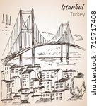 istanbul bosphorus bridge... | Shutterstock .eps vector #715717408