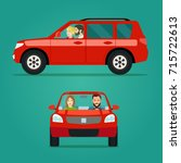 red car two angle set. car with ... | Shutterstock .eps vector #715722613