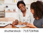 mother helps teenage daughter... | Shutterstock . vector #715726966