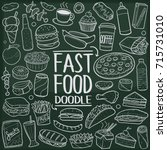 fast food menu doodle icon... | Shutterstock .eps vector #715731010