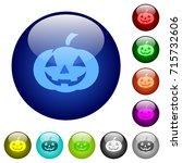 halloween pumpkin icons on... | Shutterstock .eps vector #715732606