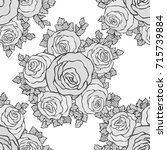 floral decorative black and... | Shutterstock .eps vector #715739884
