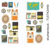 flat vector web banners set on... | Shutterstock .eps vector #715742440