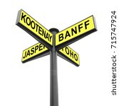 Small photo of Directional road signs isolated on white. Signpost. Marker with yellow metal plates pointing direction to Canadian National Parks - Kootenay, Banff, Jasper, Yoho. Tourism and travel