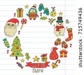 christmas xmas new year vector... | Shutterstock .eps vector #715749436