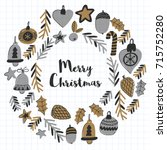 gold christmas patterns with... | Shutterstock .eps vector #715752280