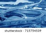 overpass of the light trails ...   Shutterstock . vector #715754539
