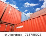 stack of cargo containers at... | Shutterstock . vector #715755028