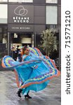 Small photo of Mexican Independence Day, Milan, Italy, 14 september 2017, piazza Alvar Aalto, mexican dancer.
