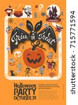 holiday happy halloween flyer... | Shutterstock .eps vector #715771594