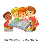 group of happy kids reading... | Shutterstock .eps vector #715778926
