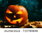 Halloween Pumpkin Lantern With...