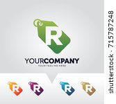 letter r price label logo... | Shutterstock .eps vector #715787248