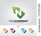 letter n price label logo... | Shutterstock .eps vector #715787350