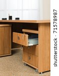 Wooden Desk With An Open Box In ...
