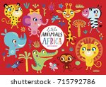 cute african animals on a red... | Shutterstock .eps vector #715792786