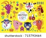 cute farm animals on a yellow... | Shutterstock .eps vector #715793464