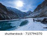 Small photo of Chadar trek (The frozen Zanskar river trekking) during winter in Leh,Ladakh,Kashmir,India.