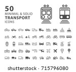 set of 50 transport minimal and ... | Shutterstock .eps vector #715796080