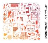 hand drawn fall fashion... | Shutterstock .eps vector #715796839