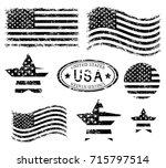 usa american grunge flag set ... | Shutterstock .eps vector #715797514