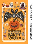 holiday happy halloween flyer... | Shutterstock .eps vector #715798198