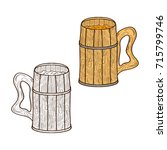 a mug made of wood. for beer ... | Shutterstock .eps vector #715799746