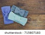 handmade knit headbands on... | Shutterstock . vector #715807183