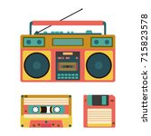 set with old retro media... | Shutterstock .eps vector #715823578