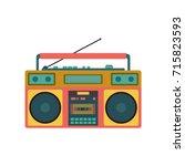 old retro media music and radio ... | Shutterstock .eps vector #715823593