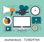 video marketing vector icons | Shutterstock .eps vector #715829764