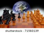 globe from space hanging over a chess board - stock photo