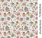 seamless party pattern composed ... | Shutterstock .eps vector #715836544