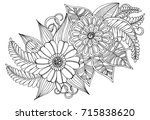 page for adult coloring book.... | Shutterstock .eps vector #715838620