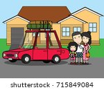 happy family enjoying trip.... | Shutterstock .eps vector #715849084
