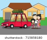happy family enjoying trip.... | Shutterstock .eps vector #715858180