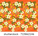 seamless folk raster border in... | Shutterstock . vector #715862146