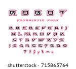 futuristic font with contour.... | Shutterstock .eps vector #715865764