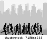 silhouette of a crowd of people ... | Shutterstock . vector #715866388