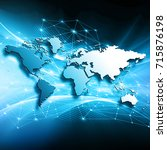 world map on a technological... | Shutterstock . vector #715876198
