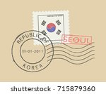 postal stamp symbols ''seoul  ... | Shutterstock .eps vector #715879360